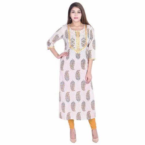 Lavanya Cotton Jaipuri Print Gota Neck Straight Kurti