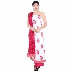 44-45 Unstitched Block Printed Organic Cotton Ladies Suit, Machine wash