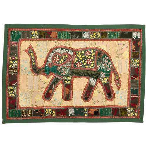 Cream And Green Little India Rich Embroidery Elephant Wall Hanging 527