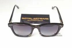 Fiber Black & White stripe Natural Buffalo Horn Sunglasses, For Wearing