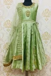 Kids Green anarkali Suit embroidery work