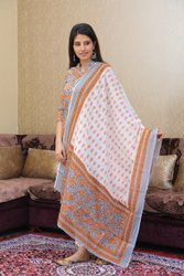 Printed Ladies Block Print Cotton Kurta Set With Kantha Hand Work And With Dupatta, Poly Bag