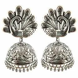 Oxidized Jhumki Earrings Peacock Style