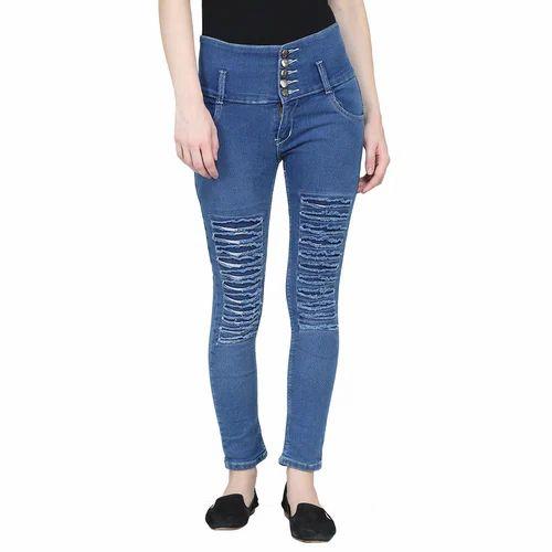 5 Button Stretchable Damage Jeans, Ladies Black Denim Jeans, Women Jeans, Girls  Jeans, लड़कियों की जीन्स - Anjani Associates, New Delhi   ID: 15393334873