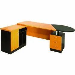 Yellow Wood L Shaped Computer Desk