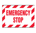 Aluminium & Acrylic Red On White Emergency Stop Machine Safety Signs , Shape: Rectangle, Round, Square, Verticle