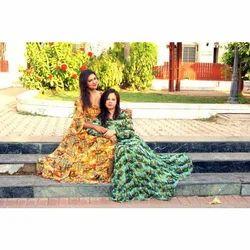 Ladies Cotton Printed Maxi Dress, Size: S - XL