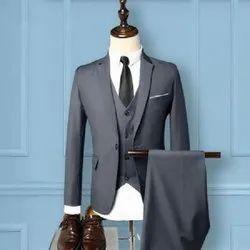 Festive Plain Blue Three Piece Slim Fit Formal Suit