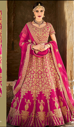fc3dac4572 BANARASI SILK Festive Wear Pink And Red Color Embroidered Designer Lehenga  Choli