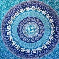 Blue Printed Mandala Tapestry
