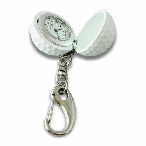Silver Standard Golf Shape Clock Keychain