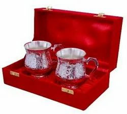 Silver Plated Brass Coffee & Beer Mug Set 3.25 Diameter x4.5
