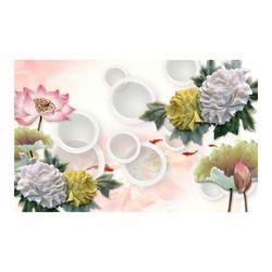 3D Floral Print Decorative Wall Glass