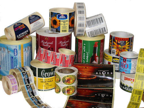 Rectangular Green Flexo Printed Colored Labels In Roll Form, Glossy