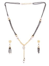 Priyaasi AD Studded And Pearls Black Beaded Chain Mangal Sutra Set