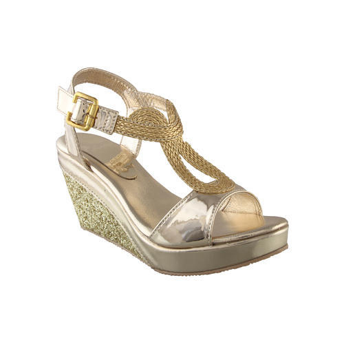 7900dc86b Stepee PVC Golden Fancy Ladies Wedges Sandals