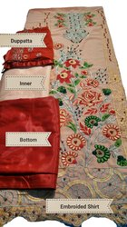 Multicolor Straight 3 Pcs Georgette Embroidered Suit, Size: XXL