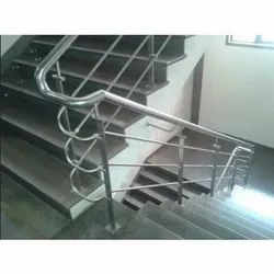 Stainless Steel Stairs SS Staircase Pipe Railings, For Home