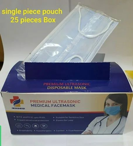 Madrid 3ply ultrasonic  single pouch pack mask