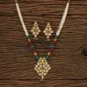 Brass Ruby Antique Mala Pendant Set With Gold Plating 202564, Size: Length = 16 Inch