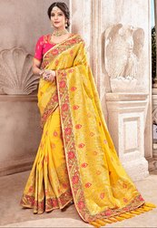 Sunny Yellow Viscose Saree with Banarasi Blouse