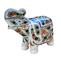 White Marble Inlay Work Elephant