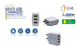 White Electric Double Usb 3.1 Amp Fast Mobile Charger
