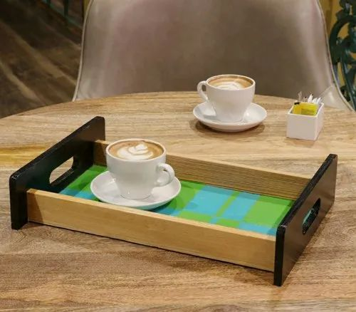 Mirai Woods Rectangular Hand Crafted and Hand Painted Mystic Wooden Tray For Restaurant