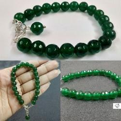 Green Jade Round Faceted Beads Bracelet