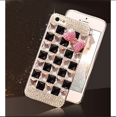 outlet store 70c20 4b429 Crystal Diamond Cute Bowknot Bling Soft Case Back Cover For Iphone 6 In  Black