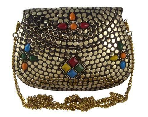 Gold Clutch Stunning Handmade Brass Metal Purse Evening Bag