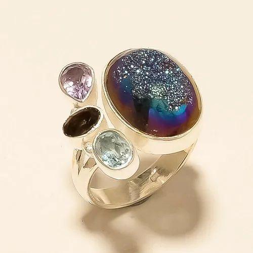 Pink Druzy Ring,Druzy Silver Ring Handmade Ring Pink Druzy Ring Jewelry 925 Sterling Silver Midi Ring