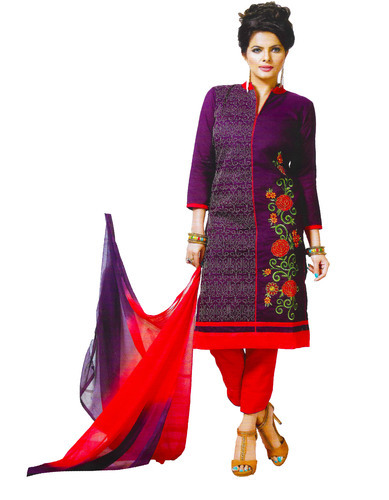 a6fd7968b2 Round Neck and V-Neck Half sleeves and Sleeveless Rupakshara Cotton  Embroidered Salwar Suit Unstitched