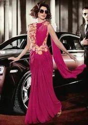 Priyanka Chopra Magenta Saree Style Gown