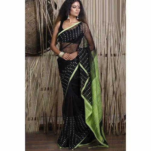 b873fec4dab Pure Handloom Muslin Sitara Saree In Black And Green