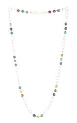 Silver Color Iron Chain With Multi Glass Beads Necklace