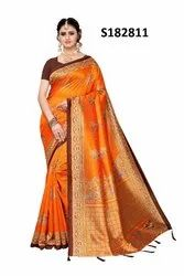 Self Design Daily Wear Poly Silk Saree
