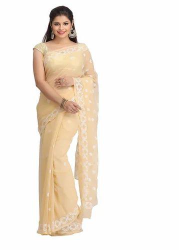 Lucknow Wear Georgette Women Saree Faux A183170 Chikan Casual tCdxQrshB