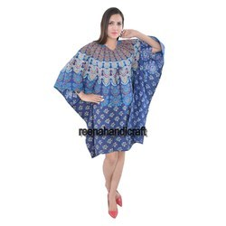 Indian Blue Traditional Peacock Kaftan Mandala Women Dress