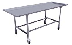 Standard Steel White Mortuary Embalming Table, Size: 72x36x24