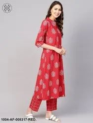 Nayo Red Printed V-Slit Neck 3/4th Sleeves A-Line Kurta with Pants