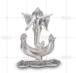 Silver Plated Ganesh Statue Right Side Trunk