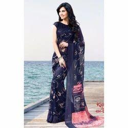 Blue Silk Zari Printed Saree, Length: 6 m