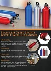 Stainless Steel Sports Bottle With Carabiner - Giftana