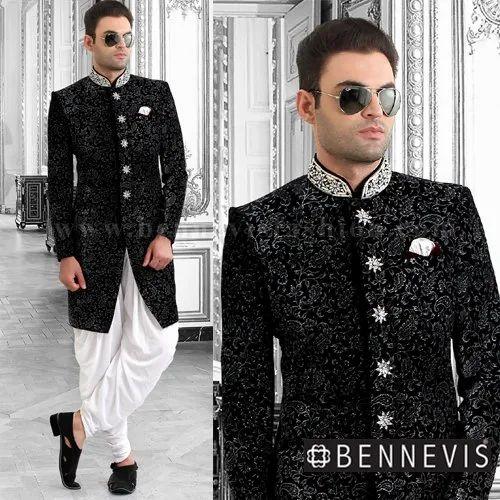 Wedding Wear Indo Western Black Velvet