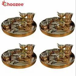 Choozee - Copper Thali Set of 4 (48 Pcs)Thali, Bowl, Spoon, Matka Glass, Ice-Cream Cup, Knife
