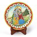 Gold Marble Radha Krishna Plate 396