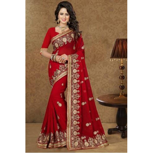 b5fa057f7c Red Georgette Heavy Embroidery Party Wear Saree at Rs 1895 /piece ...