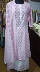 Cotton Kurti With Sharara Set And Dupatta Set