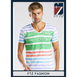 Mens Cotton Trendy Half Sleeves V Neck T-Shirt